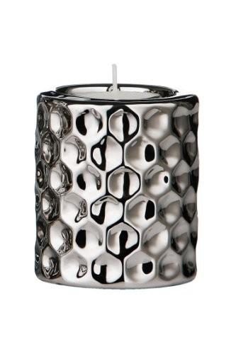 Premier-Housewares-Teelichthalter-aus-Keramik-in-gehmmerter-Metalloptik-8x7-cm-silber-0