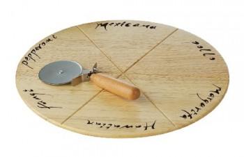 Premier-Housewares-rundes-Pizza-Schneidebrett-mit-Pizzaroller-Gummibaumholz-2-x-32-x-32-cm-0
