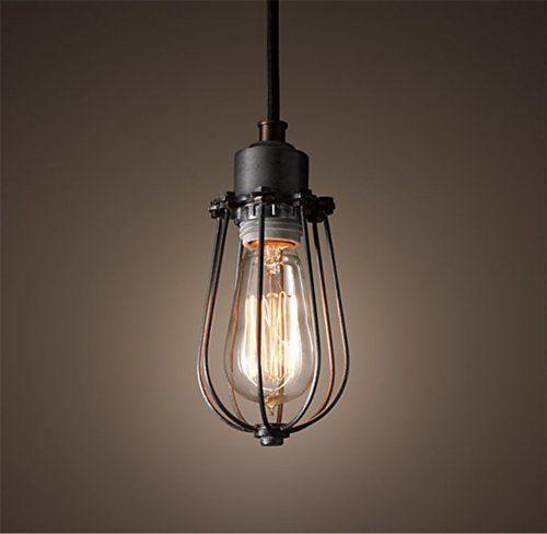 Purelume Retro Vintage Kafig Lampe Pendelleuchte Antik Schwarz Inkl