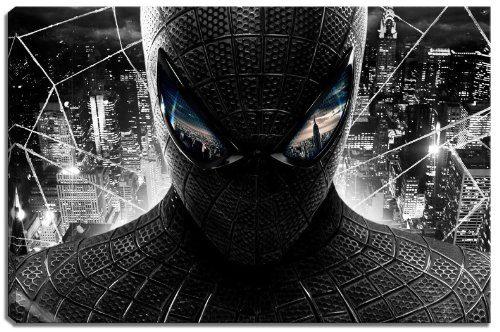 Spiderman-schwarzweiss-Motiv-mit-Farbelementen-auf-Leinwand-im-Format-120x80-cm-Hochwertiger-Kunstdruck-als-Wandbild-Billiger-als-ein-lbild-ACHTUNG-KEIN-Poster-oder-Plakat-0