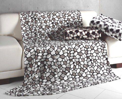 superflauschige microfaser decke stones 150x200 schwarz. Black Bedroom Furniture Sets. Home Design Ideas