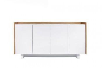 TemaHome-Skin-Sideboard-mit-4-Tren-in-glattweiss-matt-lackiert-Oberflche-Eiche-Echtholzfurnier-0