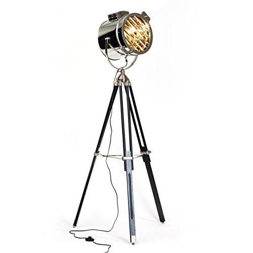 Verchromte-Stehleuchte-Cine-im-Industrie-Design-Stativ-mit-Holzbeinen-1x-E27-max-60W-H-175-cm--45-cm-Metall-Holz-0