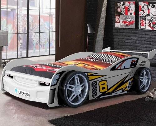 Autobett-NIGHT-RACER-glnzend-wei-lackiert-mit-Lattenrost-0