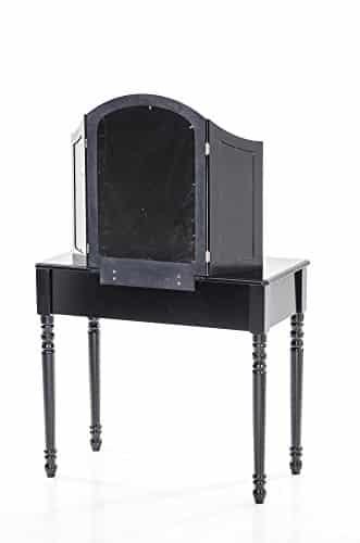 clp romantischer kolonialstil schminktisch lexi mit spiegeln gepolstertem hocker schwarz. Black Bedroom Furniture Sets. Home Design Ideas