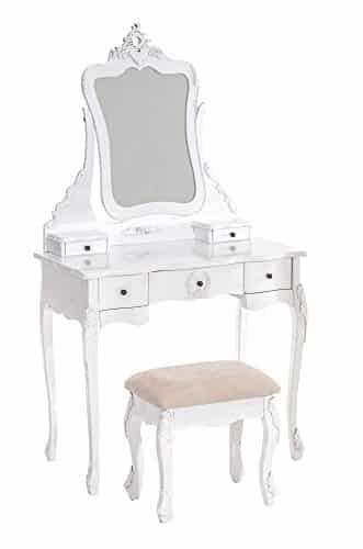 clp romantischer schminktisch sophie mit spiegeln gepolstertem hocker im kolonialstil wei. Black Bedroom Furniture Sets. Home Design Ideas