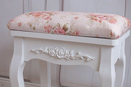 charmanter schminktisch in shabby french chic mit hocker und ornamenten blumen rose online. Black Bedroom Furniture Sets. Home Design Ideas