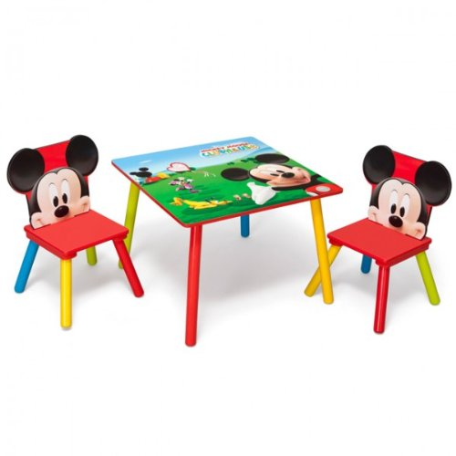 disney mickey mouse tisch mit st hlen 60x60cm holz kindersitzgruppe kindersitzgarnitur neu. Black Bedroom Furniture Sets. Home Design Ideas