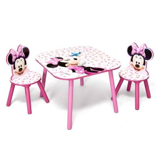 disney minnie mouse tisch mit st hlen 60x60cm holz kindersitzgruppe kindersitzgarnitur neu. Black Bedroom Furniture Sets. Home Design Ideas