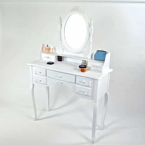 lounge zone frisiertisch schminktisch dayton wei 7 schubladen spiegel schwenkbar 4693 online. Black Bedroom Furniture Sets. Home Design Ideas