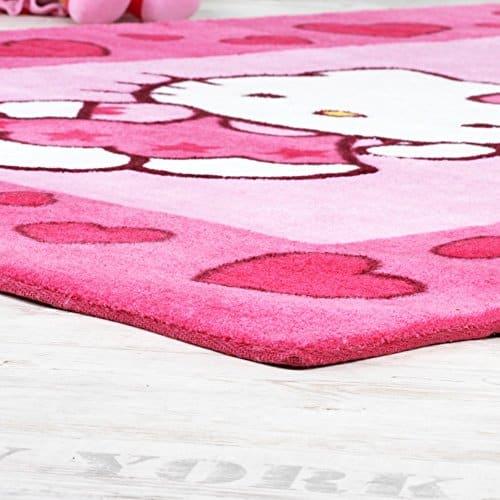 hello kitty teppich kinderzimmer teppich mit bord re und herzen in pink rosa gr sse 120x170. Black Bedroom Furniture Sets. Home Design Ideas
