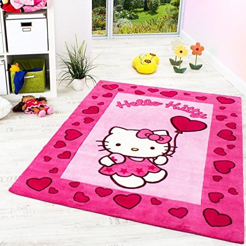 hello kitty teppich kinderzimmer teppich mit bord re und herzen in pink rosa gr sse 120x170. Black Bedroom Furniture Sets. Home Design Ideas
