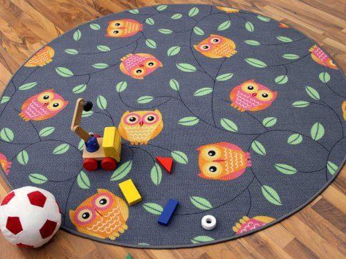Kinder-Spielteppich-Eule-Grau-Anthrazit-Orange-Rund-in-7-Gren-0