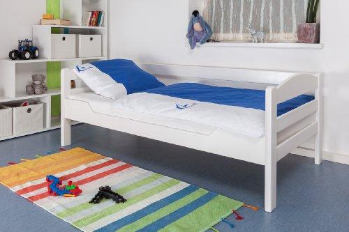 kinderbett jugendbett easy sleep k1 n sofa buche vollholz massiv wei lackiert ma e 90 x. Black Bedroom Furniture Sets. Home Design Ideas