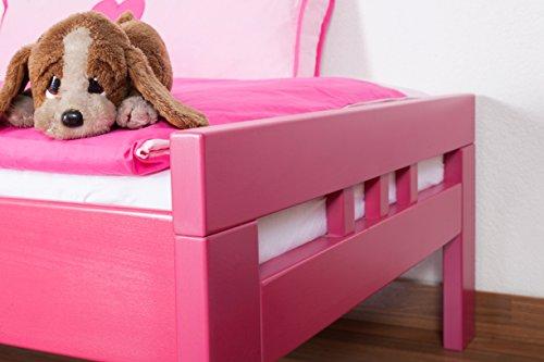 kinderbett jugendbett easy sleep k8 90 x 200 cm buche vollholz massiv rosa lackiert online. Black Bedroom Furniture Sets. Home Design Ideas