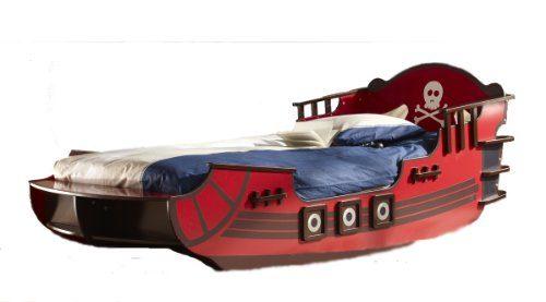 Kinderbett piratenschiff  Kinderbett PIRATENSCHIFF rot Seeräuber Piratenbett Boot Bett online ...
