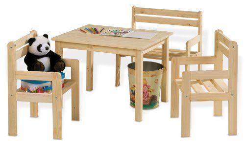 Kindertisch-Massivholz-inkl-Sthle-u-Sitzbank-Kai-0
