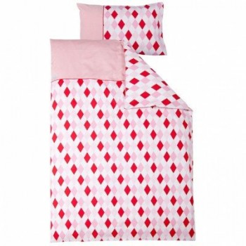LITTLE-DUTCH-0599-Kinderbettwsche-Raute-rosa-rot-0