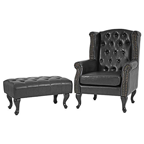 sessel relaxsessel clubsessel ohrensessel chesterfield kunstleder schwarz mit ottomane online. Black Bedroom Furniture Sets. Home Design Ideas