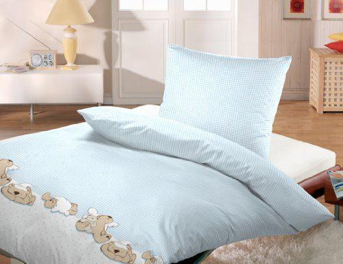 Silbermond-Baby-Baumwoll-Bettwsche-Vichy-Karo-mit-Teddys-blau-wei-100x135--40x60-cm-0