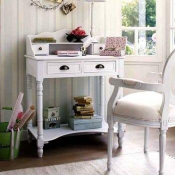 Stilvoller-Landhaus-SchreibtischSekretr-BUREAU-wei-80cm-4-Schubladen-0