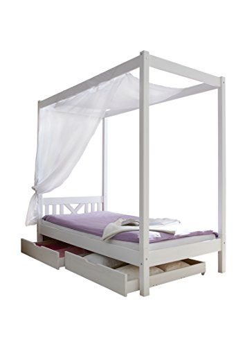 ticaa himmelbett einzelbett laluna kiefer massiv online kaufen bei woonio. Black Bedroom Furniture Sets. Home Design Ideas