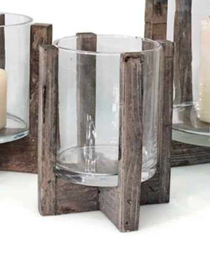 Windlicht rustica holz glas h 20 cm laterne kerzenhalter for Windlicht laterne gross