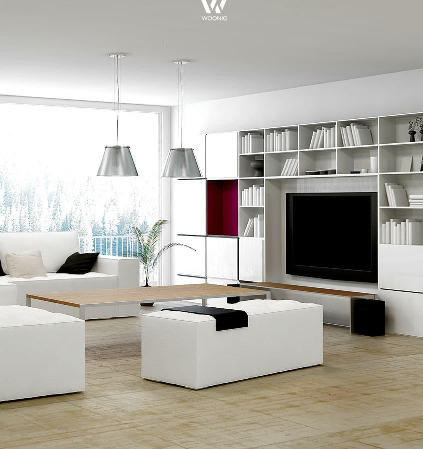 die wohnwand im wohnzimmer ist heute sehr schlicht und dezent der fokus liegt auf ihrem inhalt. Black Bedroom Furniture Sets. Home Design Ideas