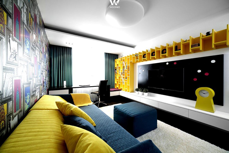 Wer gerne starke Farben mag kann dies auch im Wohnzimmer richtig ...