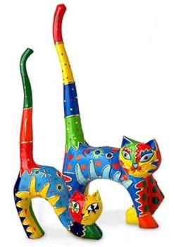 2-x-Deko-Figur-Ringkatze-Katze-und-Kater-im-Set-aus-Albesia-Holz-farbig-bunt-bemalt-26-cm-gro-Holzfigur-zwei-lustige-Katzen-mit-Buckel-handgefertigt-handmade-0