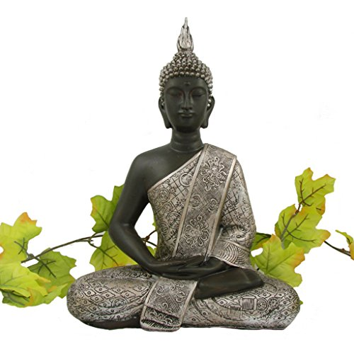 buddha statue silber dekoration wohnzimmer 30 cm online kaufen bei woonio. Black Bedroom Furniture Sets. Home Design Ideas