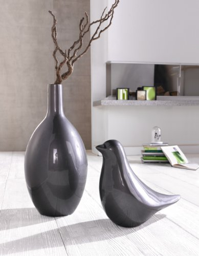 deko vase silbergrau bauchig bodenvase blumenvase. Black Bedroom Furniture Sets. Home Design Ideas