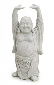 Deko-Figur-Happy-Buddha-Figur-stehend-in-Stein-Optik-aus-Polystein-grau-16-cm-gro-Statue-dicker-Mnch-lachend-Glcksbuddha-Budai-0