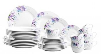 Domestic-by-Mser-Serie-Mona-Kombiservice-30-teilig-mit-je-6-Tassen-Untertassen-Desserteller-Teller-tief-und-Teller-flach-wunderschnes-Dekor-in-zarten-Farben-0