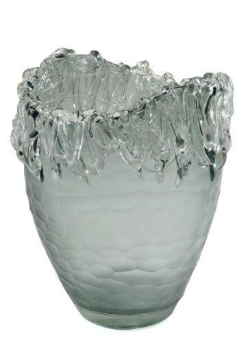 Glasvase-WASSERFALL-gro-grau-Bodenvase-Dekovase-Klarglas-Hhe-30-cm-0