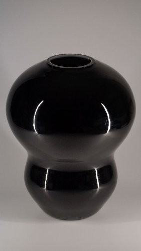 Glasfeld Schwarze Michelin Glas Vase Murano Design Handarbeit