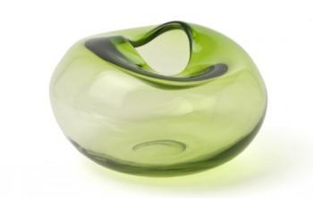 IVARY-INSPIRATION-Glas-Vase-mit-eingedrckter-ffnung-275-x-275-x-17-cm-klar-gelb-grn-0