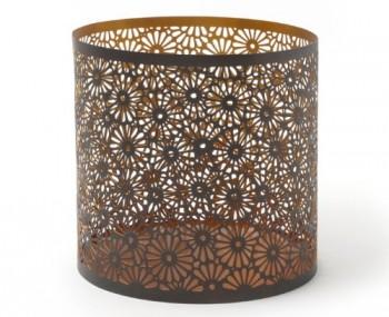 IVARY-Metall-Kerzenhalter-mit-gestanztem-Blumenmuster-rund-20-x-20-cm-Zinn-braun-0
