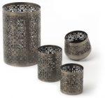 IVARY-Metall-Teelichthalter-mit-gestanztem-Sternenmuster-rund-75-x-7-cm-messingfarben-braun-0-0