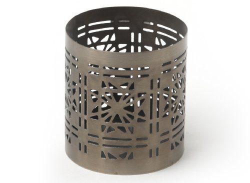 IVARY-Metall-Teelichthalter-mit-gestanztem-Sternenmuster-rund-75-x-7-cm-messingfarben-braun-0