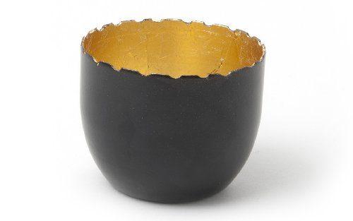 IVARY-Metall-Teelichthalter-rund-6-x-75-cm-schwarz-gold-0
