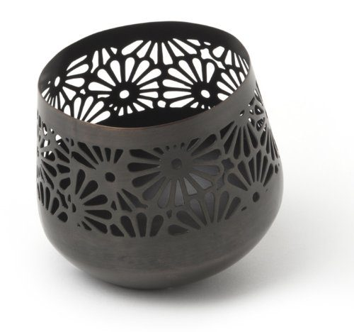 IVARY-Metall-Teelichthalter-schrg-mit-gestanztem-Blumenmuster-rund-10-x-10-cm-Kupfer-Antik-braun-0