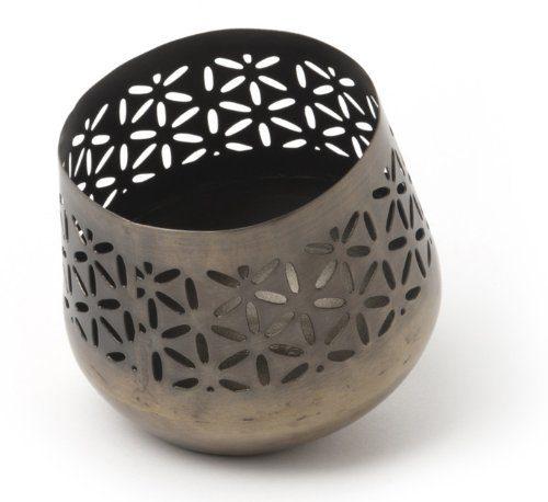 IVARY-Metall-Teelichthalter-schrg-mit-gestanzten-Bltenblttern-rund-10-x-10-cm-Antik-braun-0