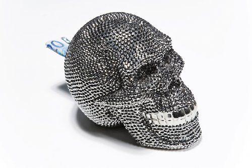 Kare-32021-Spardose-Skull-Crystal-Silver-0