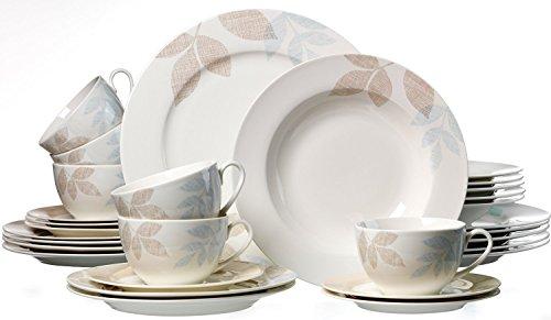 Kombiservice Cecilia Porzellan Geschirrset Kaffeeservice Und Tafelservice  Für 12 Personen 60 Teile Und Mysolitaire Teelichthalter Online Kaufen Bei  WOONIO