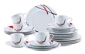 Porzellan-Geschirr-Set-30-teilig-fr-6-Personen-Service-mit-rot-schwarzem-Dekor-Tafelservice-Kaffeeservice-Teller-und-Tassen-0