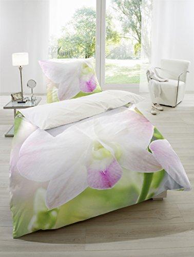 satin bettw sche baumwolle digitaldruck in gr n rosa wei 155x220 80x80 cm online kaufen bei. Black Bedroom Furniture Sets. Home Design Ideas