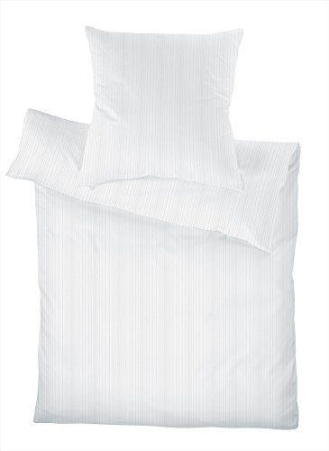 Schlafgut Uni Mako Satin Bettwäsche Select Blanc 155x220 Cm 80x80
