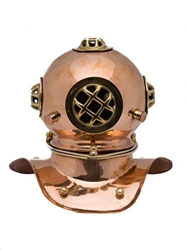 Taucherhelm-Kupfer-20cm-Maritim-Taucherglocke-diving-helmet-Helm-antik-Stil-0