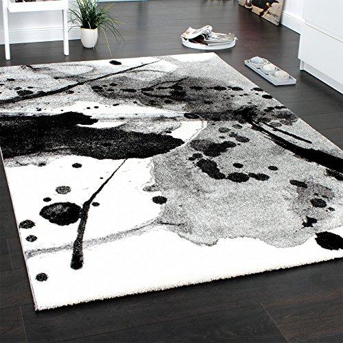 teppich modern splash brush designer teppich meliert schattiert schwarz creme gr sse 200x290 cm. Black Bedroom Furniture Sets. Home Design Ideas